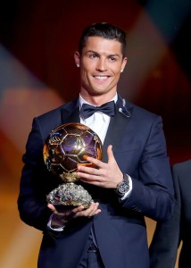 ZURICH, SWITZERLAND - JANUARY 12: FIFA Ballon d'Or winner Cristiano Ronaldo of Portugal and Real Madrid accepts his award during the FIFA Ballon d'Or Gala 2014 at the Kongresshaus on January 12, 2015 in Zurich, Switzerland. (Photo by Alexander Hassenstein - FIFA/FIFA via Getty Images)